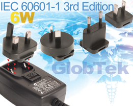 6W Medical Grade Wall Plug in power supply series GTM41134 is now in production in compliance with IEC/UL/EN 60601-1, 3rd edition. The universal input switching power supply adapter model series is a versatile...