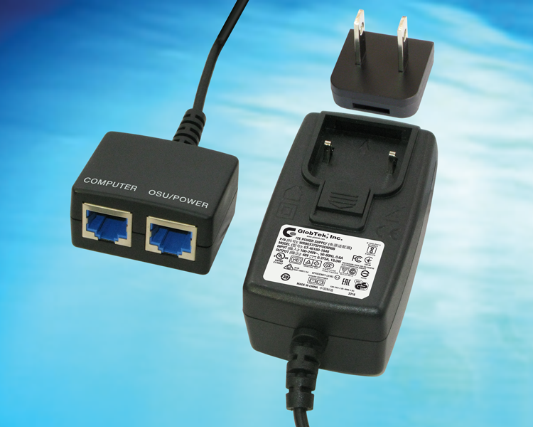GlobTek offers a low cost wall plug in Passive Power over Ethernet (Poe) Midspan/injector with output options from 5-48Vdc through IEEE802.3 type RJ45 Ethernet jacks.   GlobTek's changeable input blade...