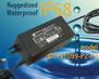 IP68 Waterproof Switching Power Supply Ac Adapter in Class I or II configuration 60W (Watt) replaces generic desktop power supplies for use in environments requiring ruggedized configurations, model GTM91099-P2-P3 Series